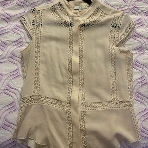 Iro cream sleeveless blouse